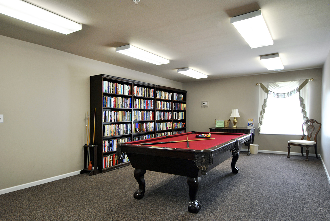 Pool table and library at Swanhaven Manor